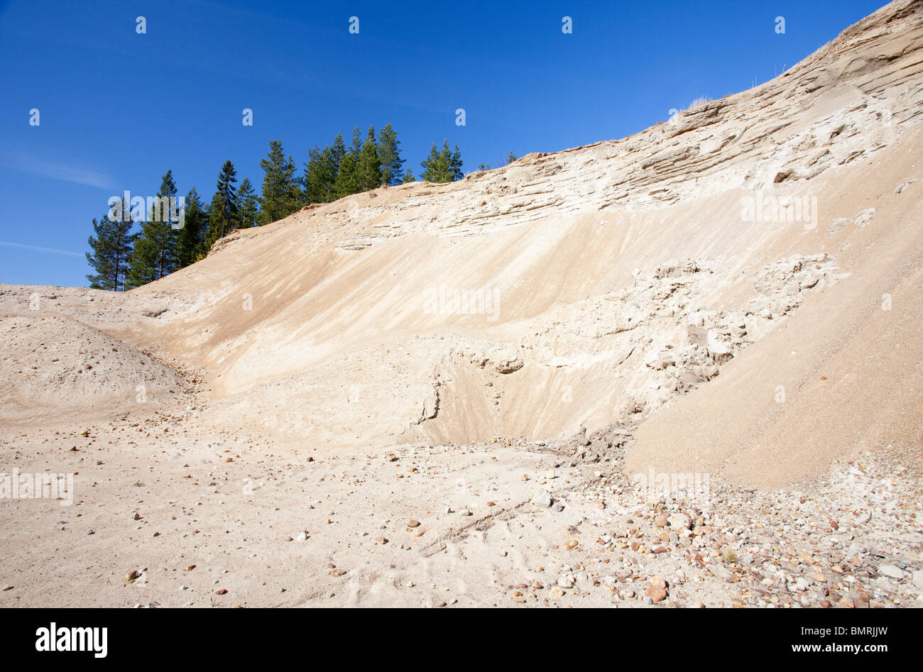 Erosion on a sandpit wall at a sandy ridge , Finland - Stock Image