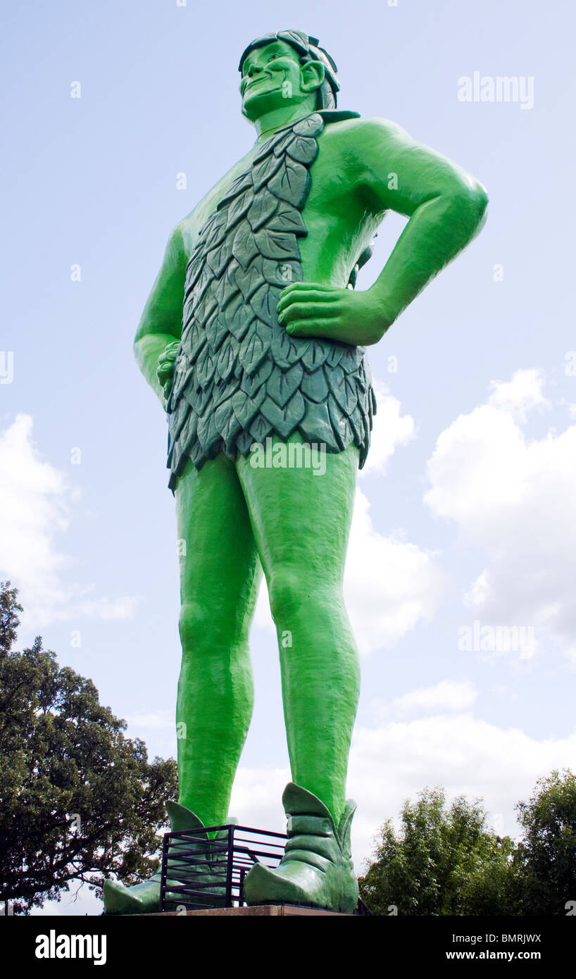 Jolly Green Giant Welcome to Blue Earth Minnesota - Stock Image