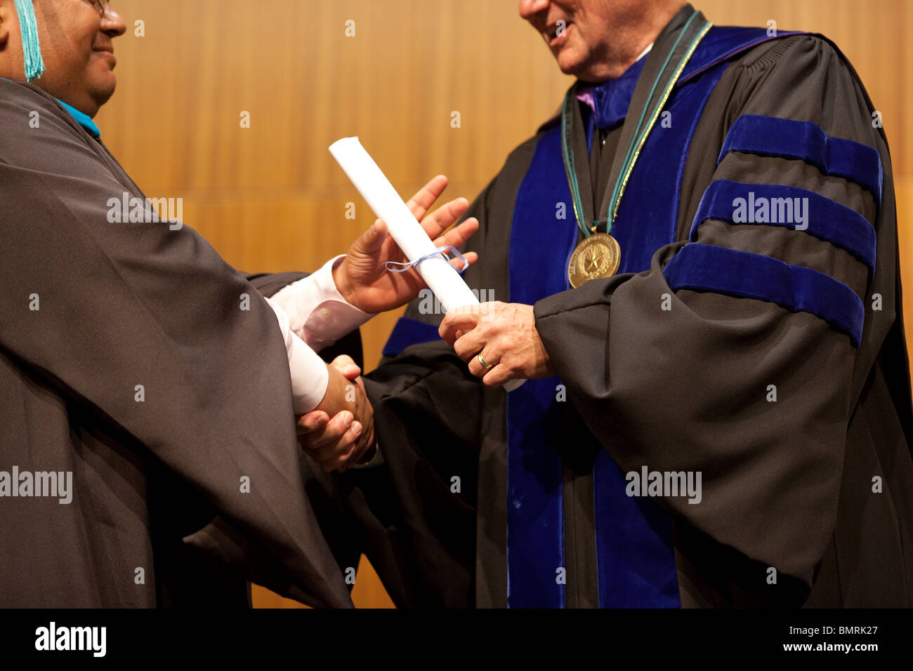 Commencement ceremony for graduates of  Lyndon Baines Johnson (LBJ) School of Public Affairs at the University of - Stock Image