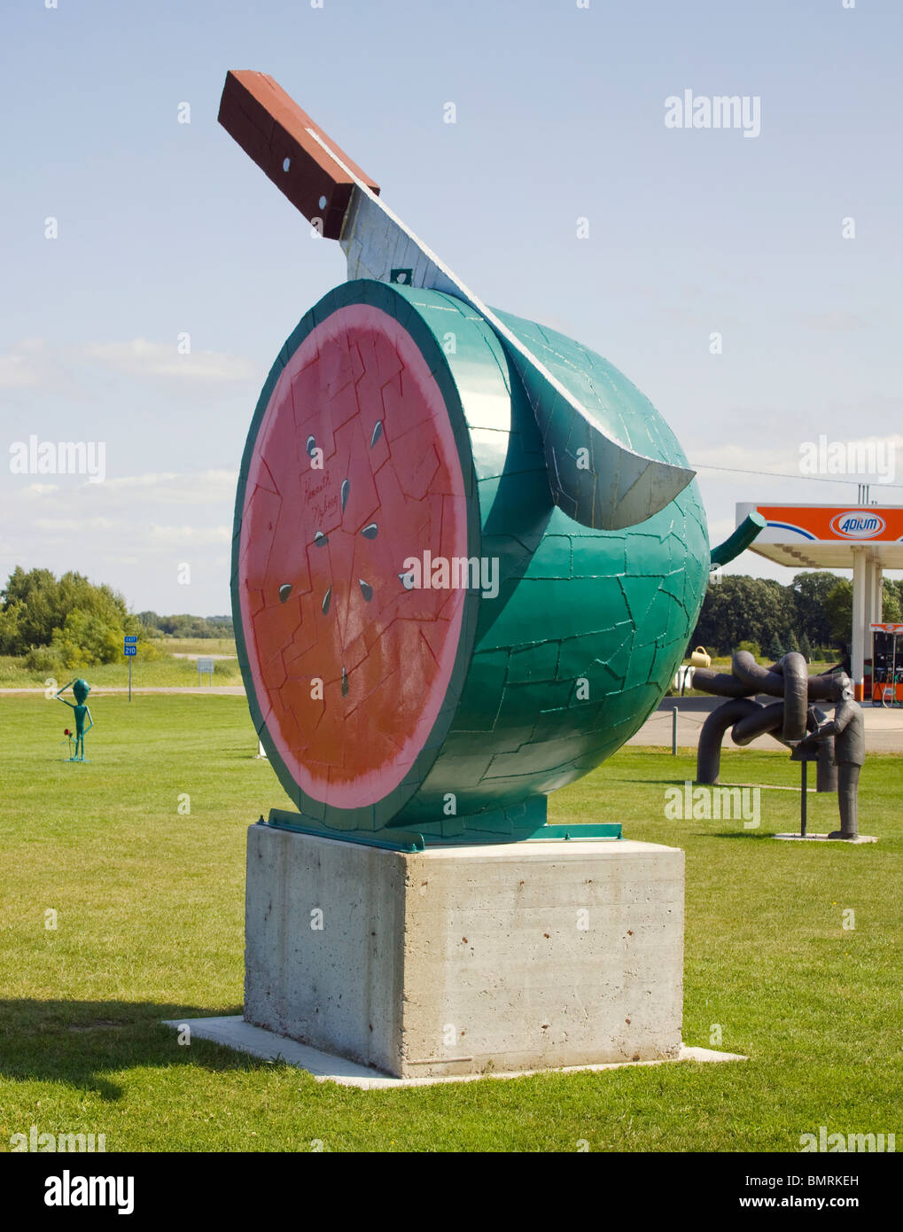 Ken Nybergs Watermelon Sculpture in Vining Minnesota - Stock Image