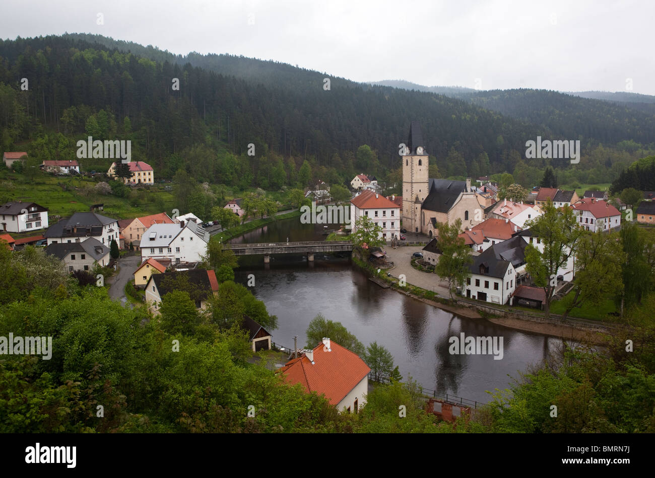 Rozmberk nad Vltavou village in a Moldau river curve, southern Bohemia, Czech republic - Stock Image