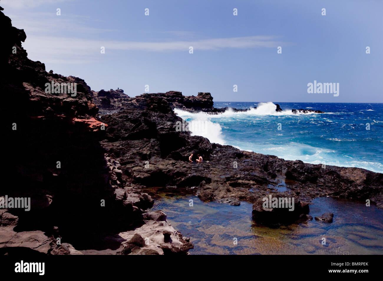 Bellstone tidal pools,aka Olivine Pools, Maui, Hawaii Stock Photo
