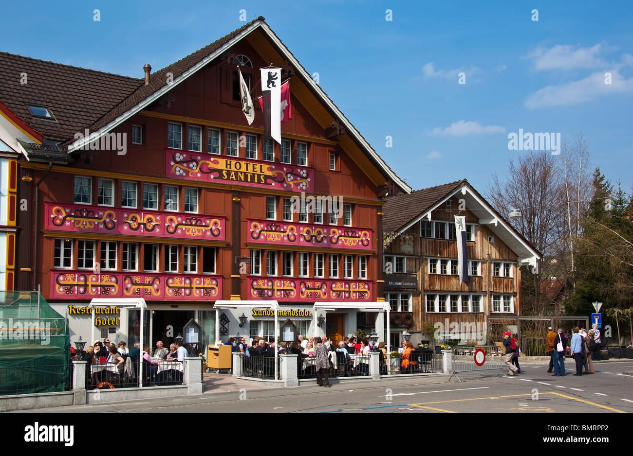 Red Decorated Facade Of Hotel Saentis On Landsgemeindeplatz