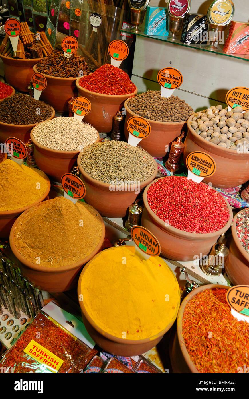 Istanbul. Turkey. Display of spices at the Spice Bazaar aka Egyptian Bazaar. - Stock Image