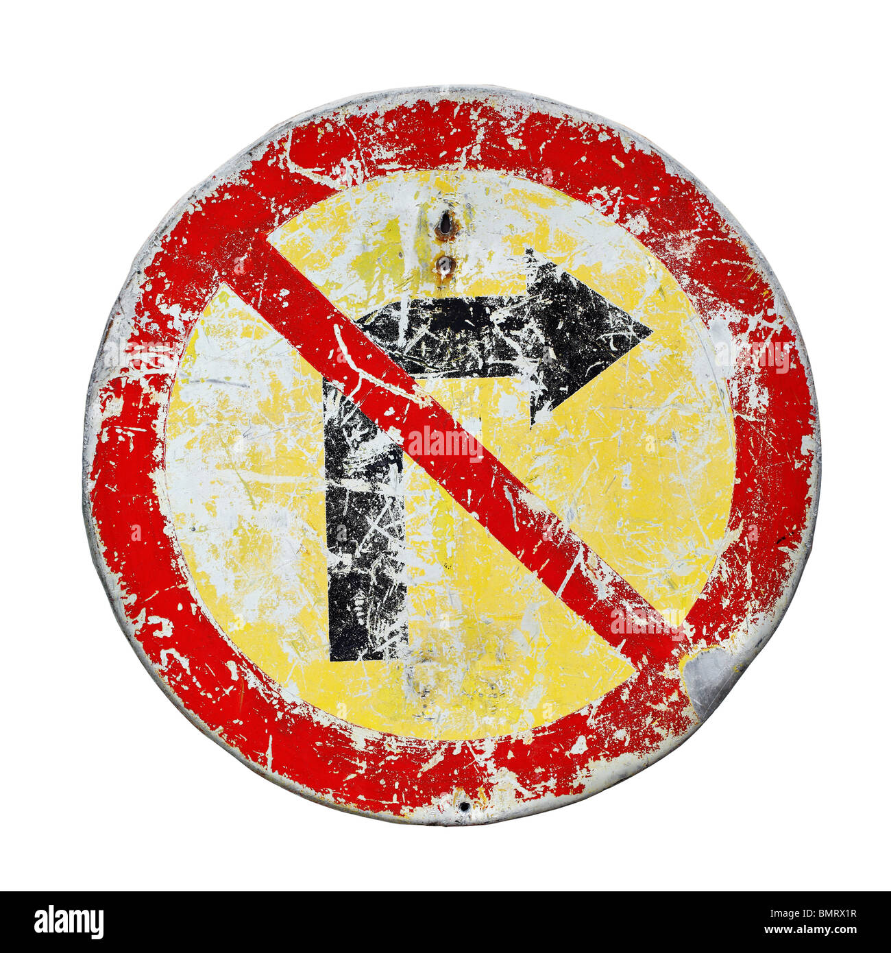Old scratched no right turn road sign - Stock Image