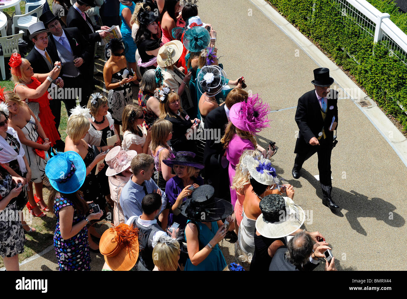 View of race goers in the grandstand enclosure during day three of Royal Ascot 2010 - Stock Image
