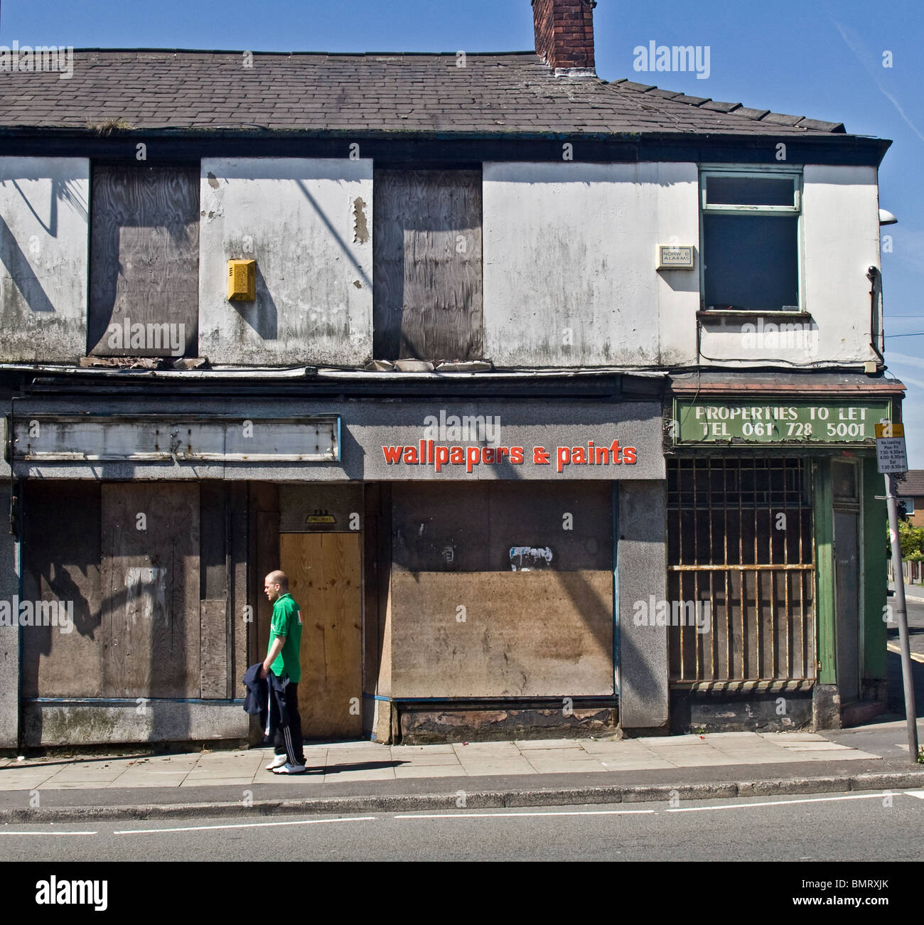 Derelict shops, Swinton/ Clifton area, Salford , Greater Manchester, UK - Stock Image
