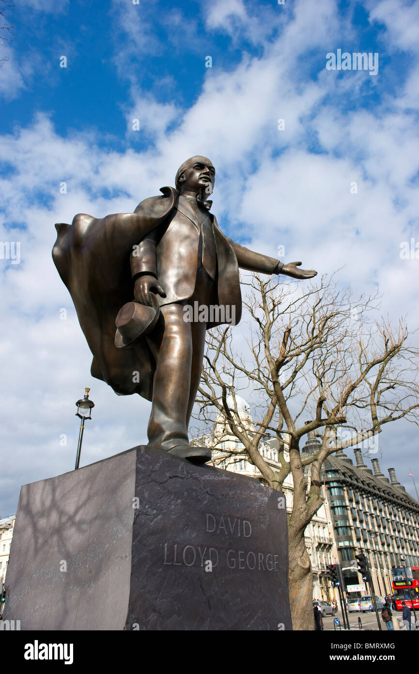 Bronze statue of David Lloyd George looks out over Parliament Square in London. - Stock Image