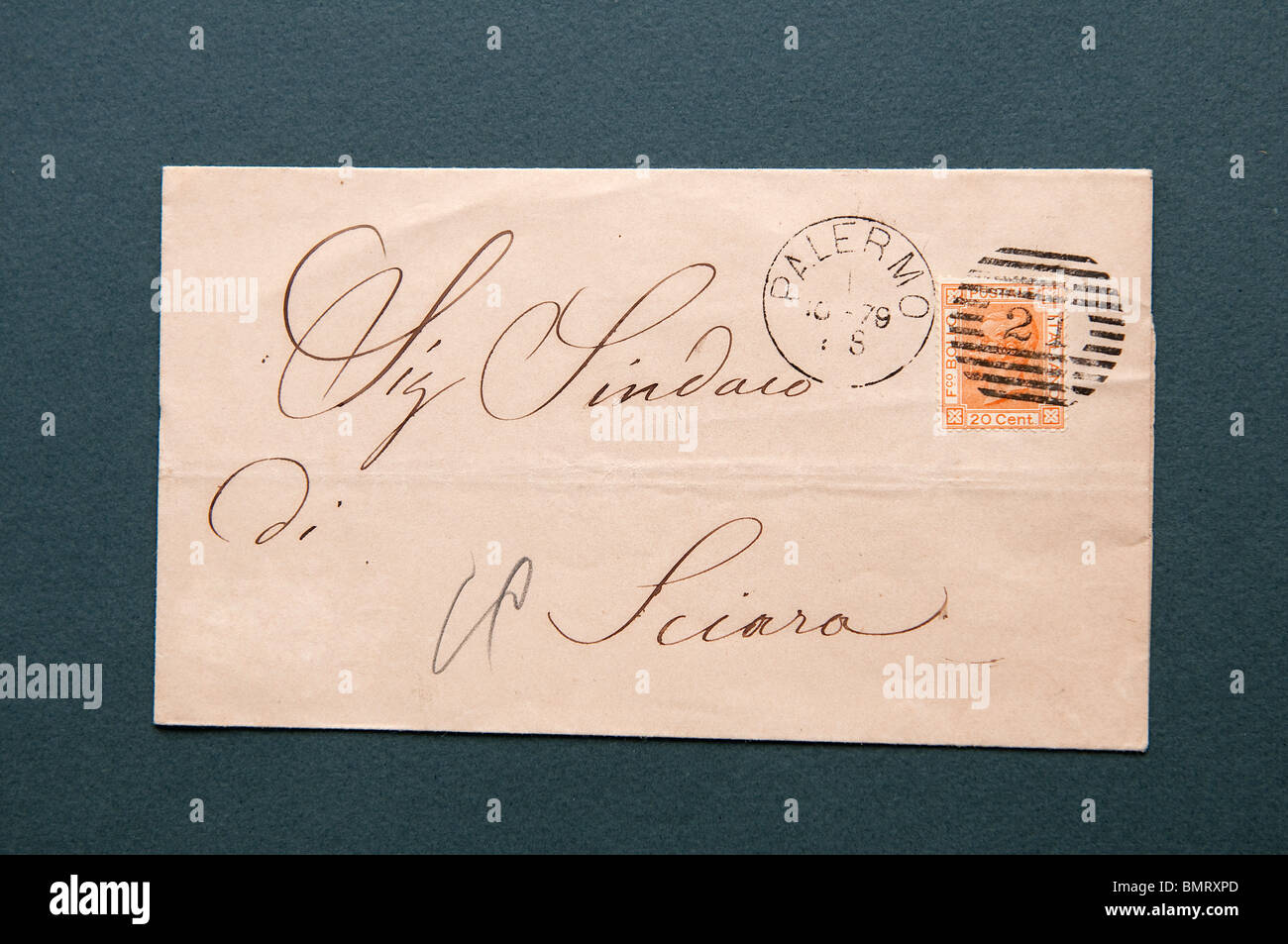 An Envelope With 20 Cent Italy Kingdom Stamp 1865 The Effigy Of Vittorio Emanuele II King