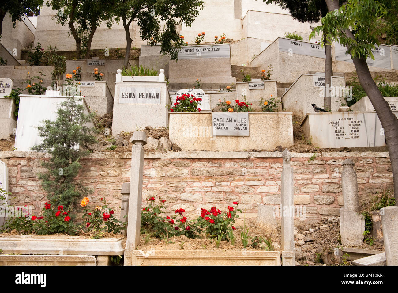 Graves in cemetery beside the Eyup Sultan Mosque, Eyup, Istanbul, Turkey Stock Photo