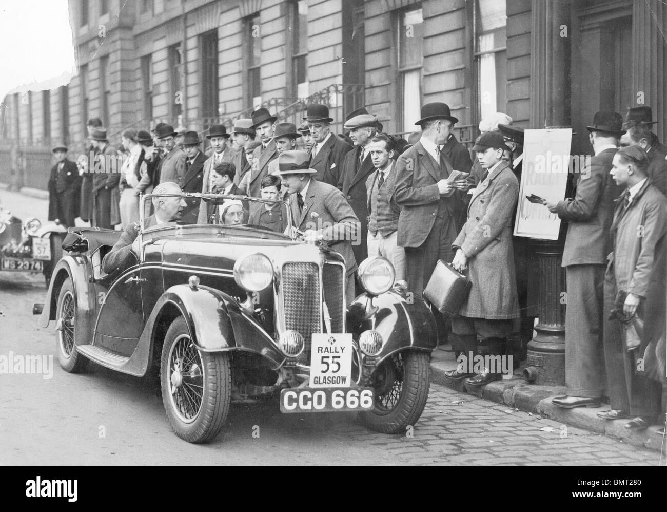 RAC Rally 1936, Standard 12 Avon Sports at the Glasgow control - Stock Image