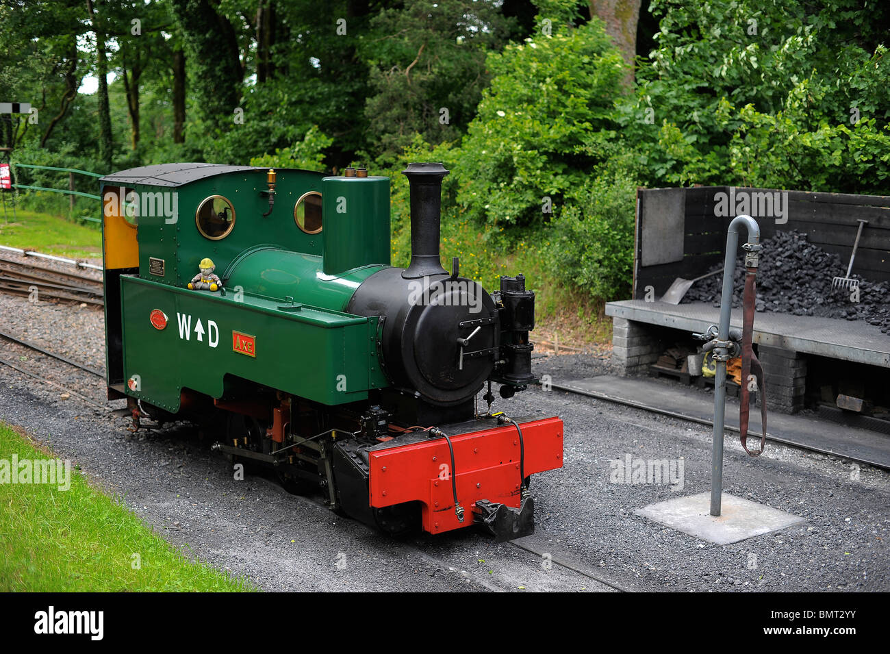 A train pictured at Woody Bay train station, in North Devon. - Stock Image