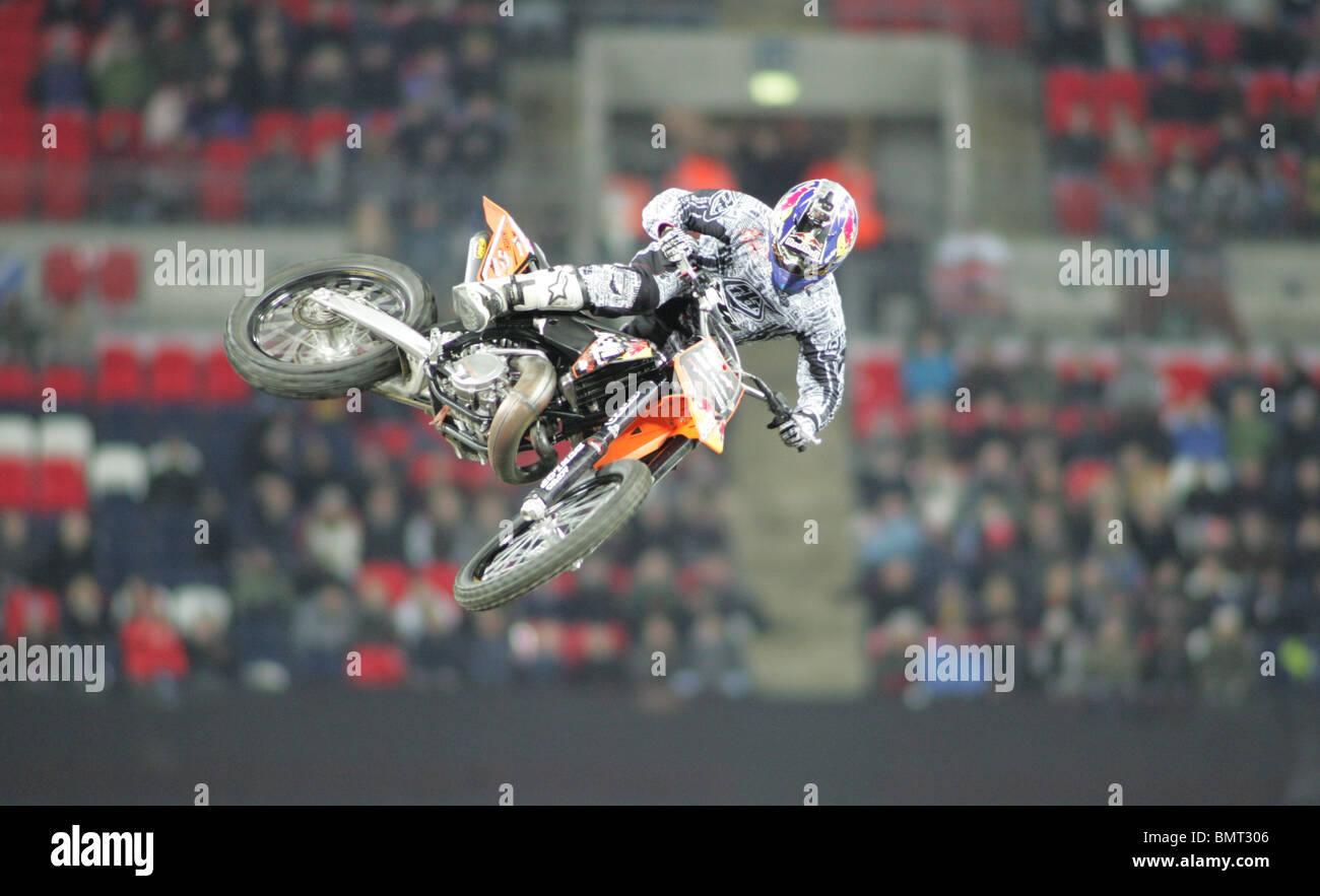 bike stunts at race of champions 2008 at wembley stadium Stock Photo