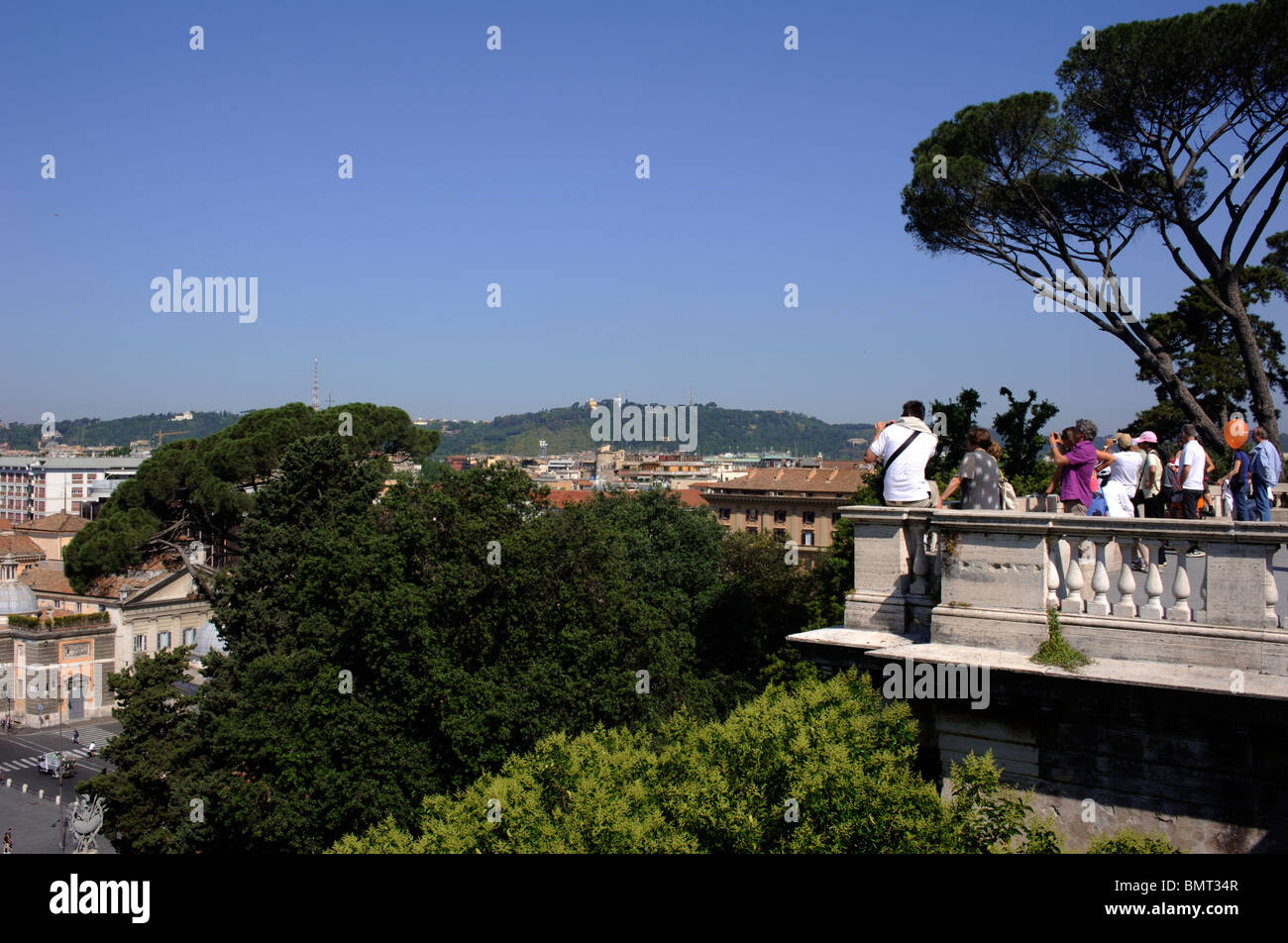 italy, rome, pincio hill, terrace overlooking piazza del popolo, viewpoint - Stock Image