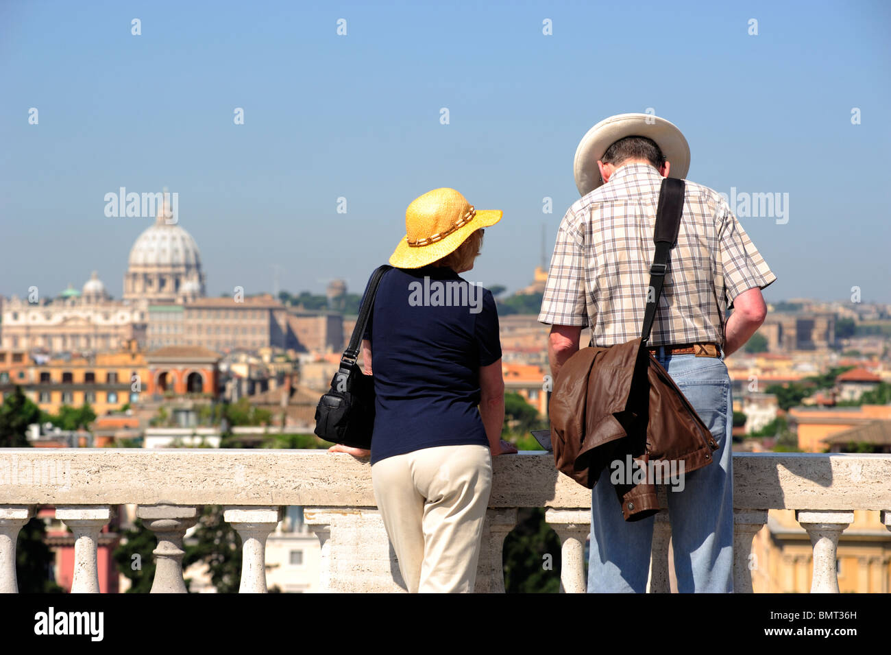 italy, rome, pincio hill, viewpoint overlooking piazza del popolo, tourists - Stock Image