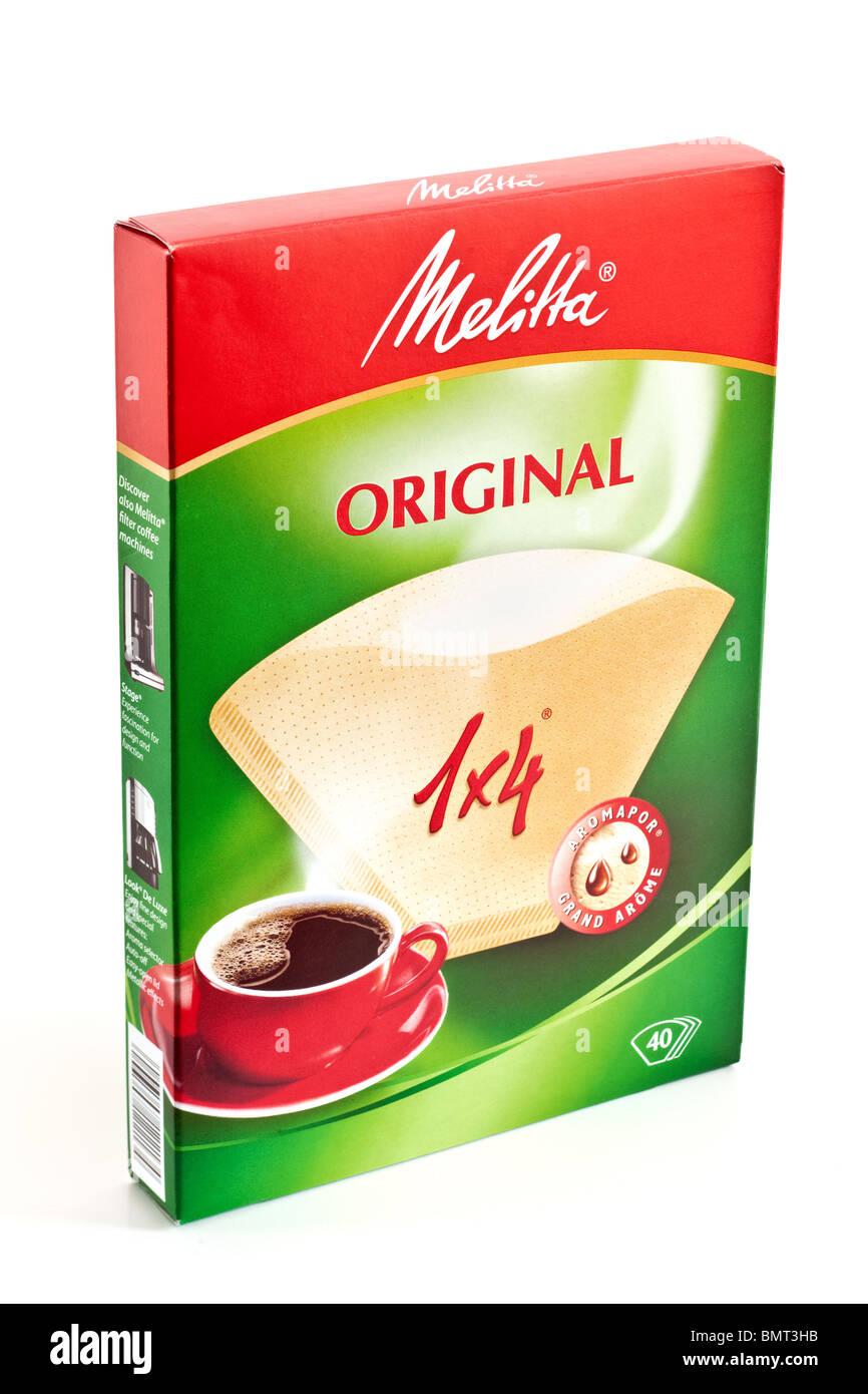 Box of 40 Melitta original coffee paper filters - Stock Image