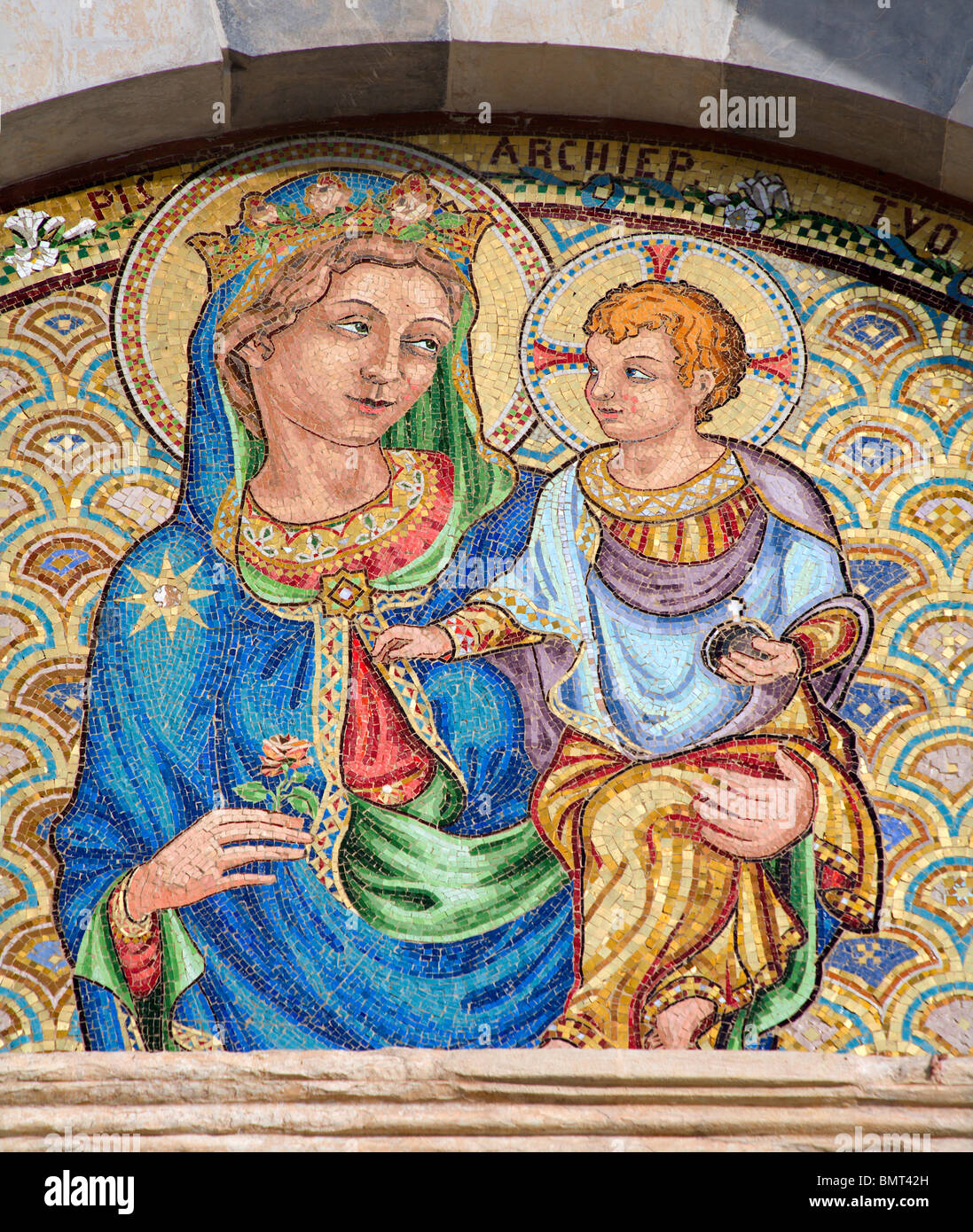 Pisa - mosaic of holy mary with the Jesus - Chiesa e convento di San Torpe - Stock Image