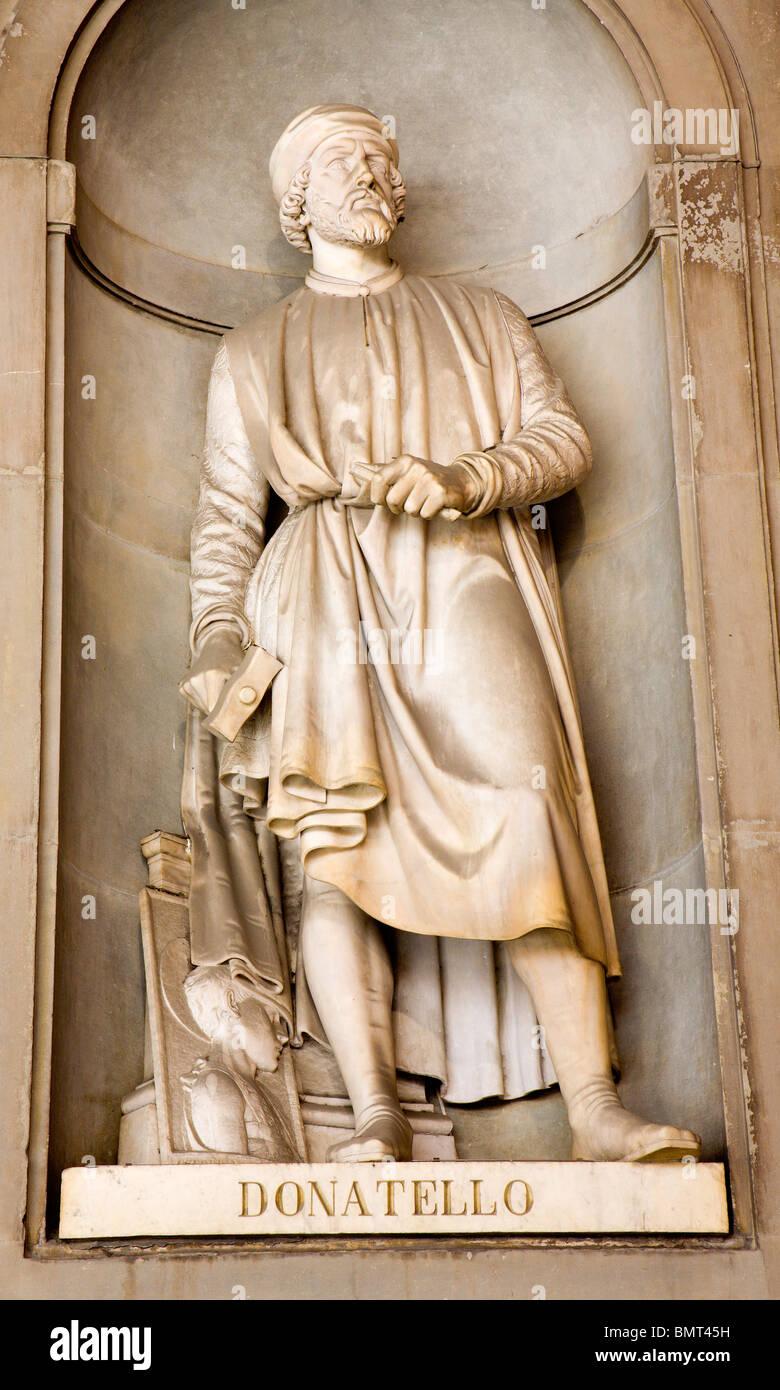 Florence - Doatello statue on the facade of Uffizi gallery by Girolamo Torrini. Stock Photo