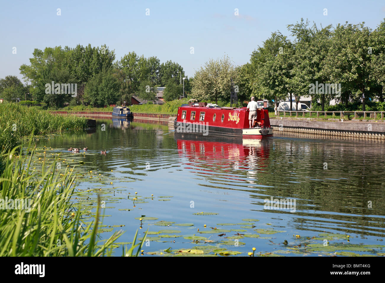 Narrow boats on the Selby Canal, Selby, North Yorkshire, England, UK. - Stock Image