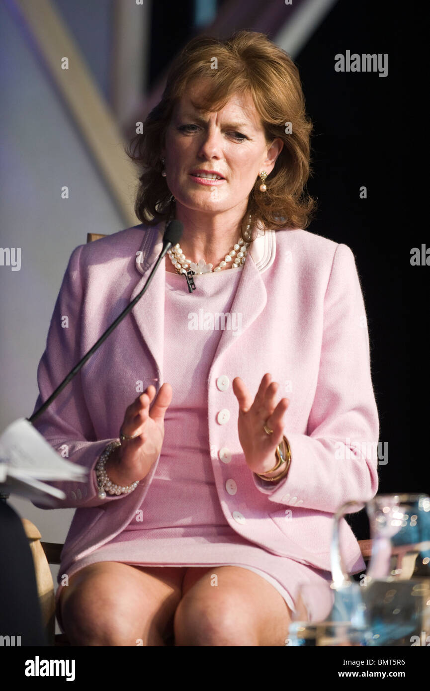 Emma Manners Duchess of Rutland pictured speaking about her life on stage at Hay Festival 2010 Hay on Wye Powys - Stock Image
