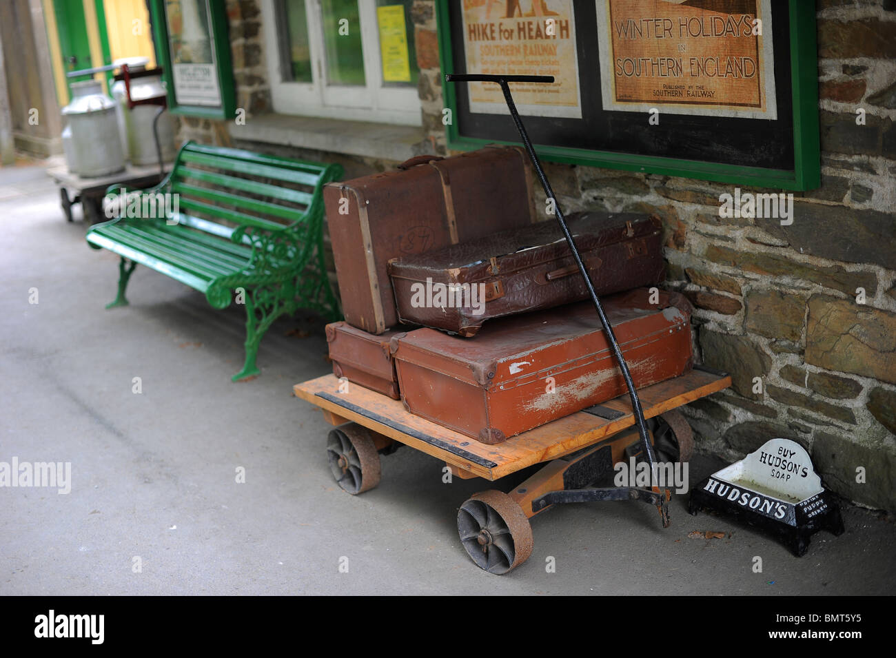 old antique luggage suitcases at Woody Bay station, north Devon - Stock Image