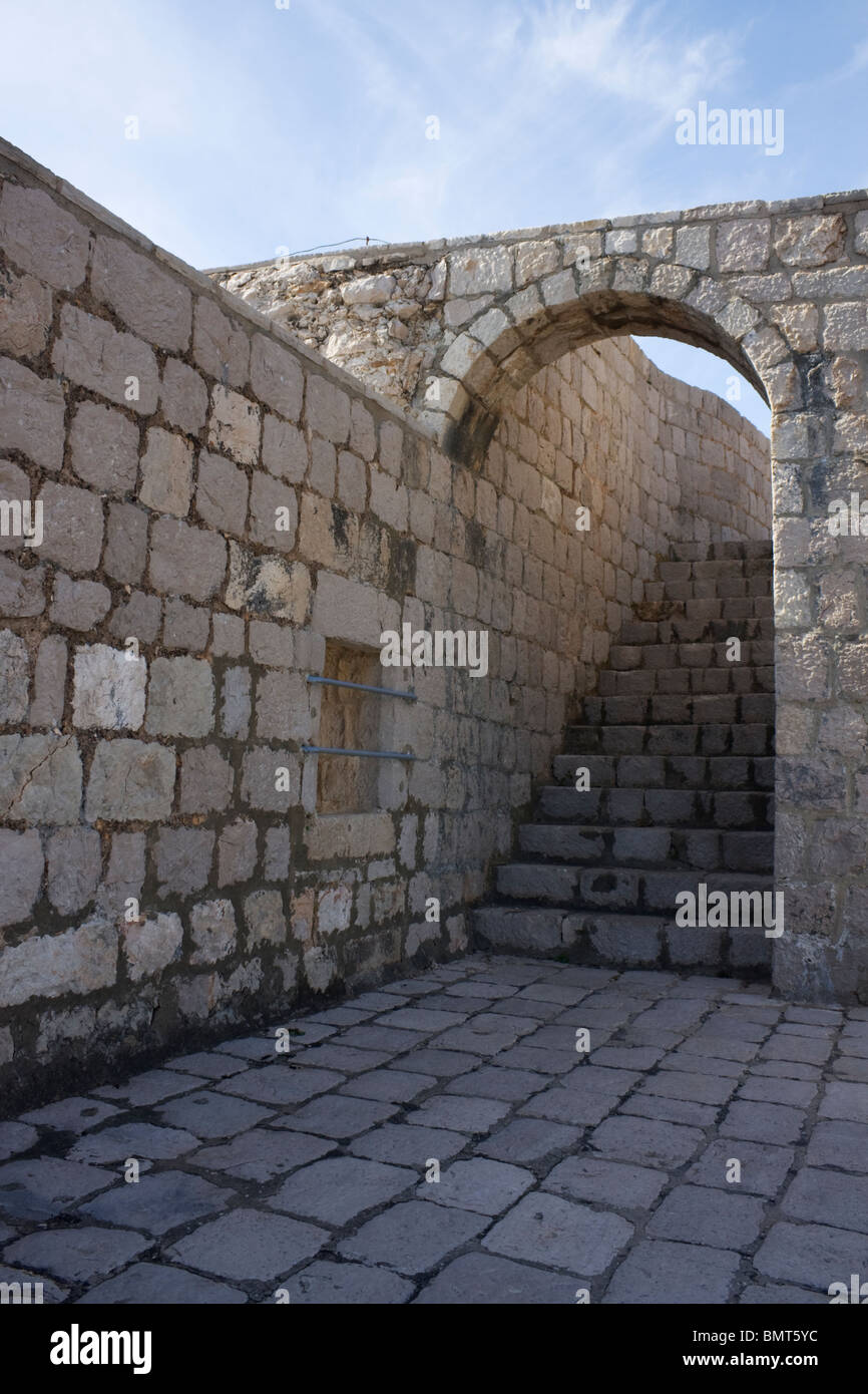 Archway with stairs in Fort Lovrijenac, Dubrovnik, Dalmatia, Croatia Stock Photo