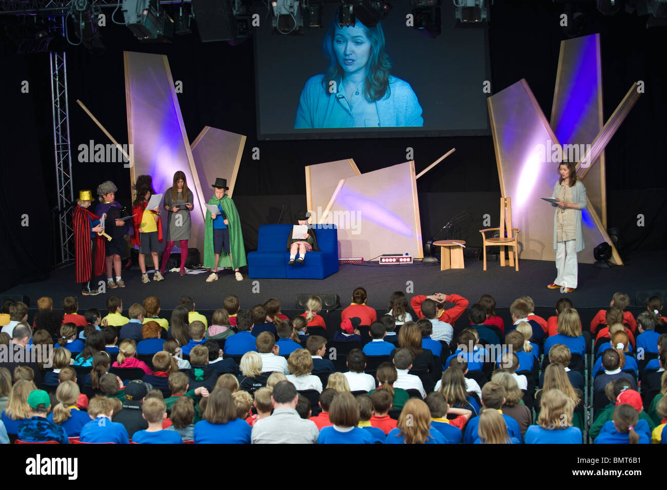 Children's author FE Higgins taking drama workshop at Hay Festival Primary Schools Day Hay on Wye Powys Wales - Stock Image