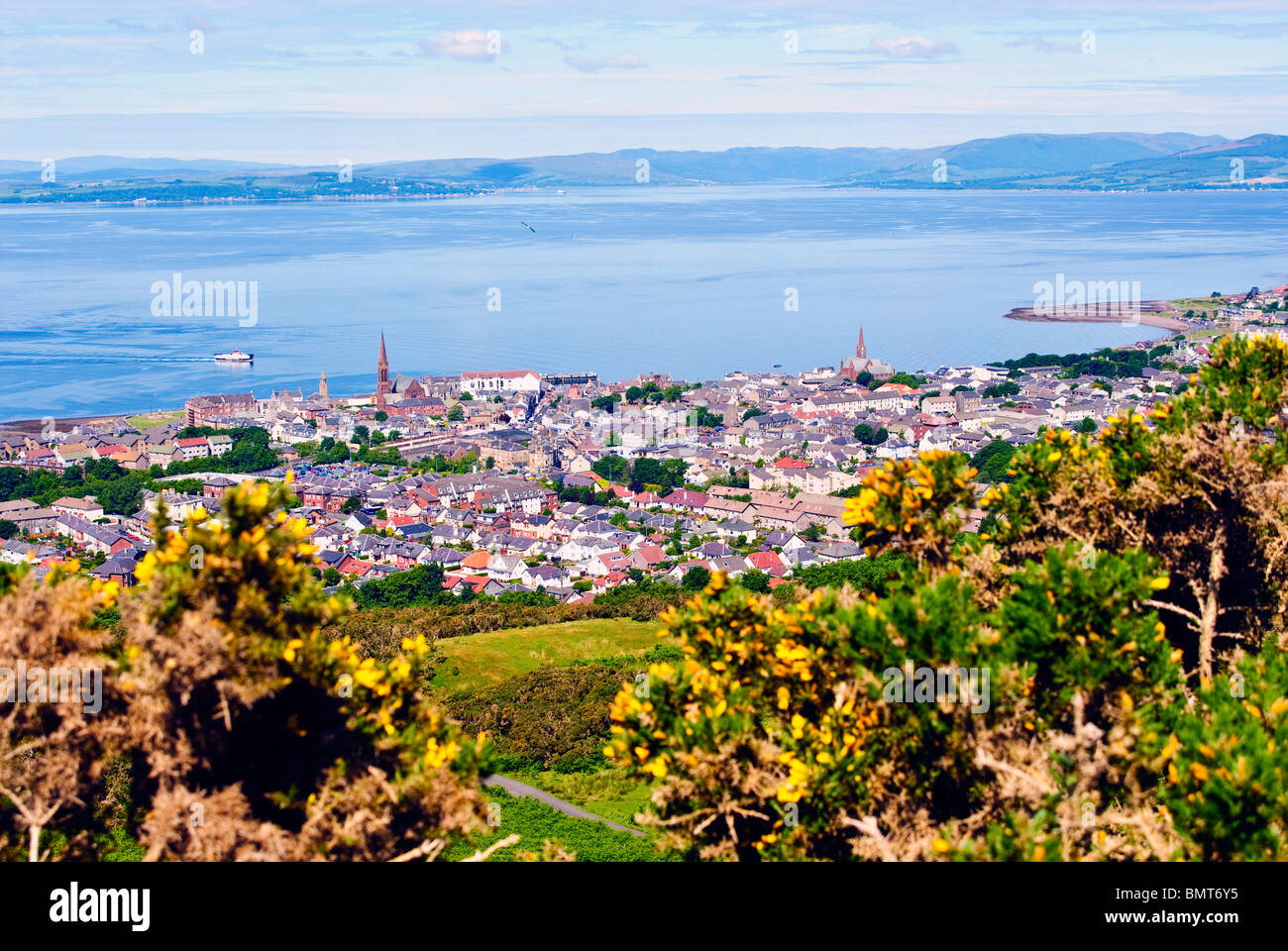 The Seaside Town of Largs, Ayrshire, Scotland, seen from Castle Hill. - Stock Image