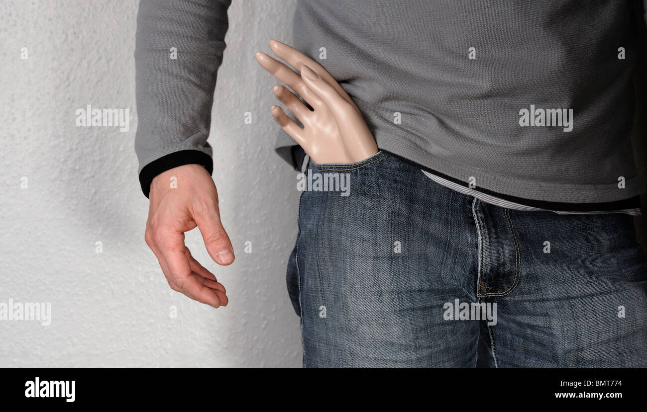 Man with a spare hand - Stock Image