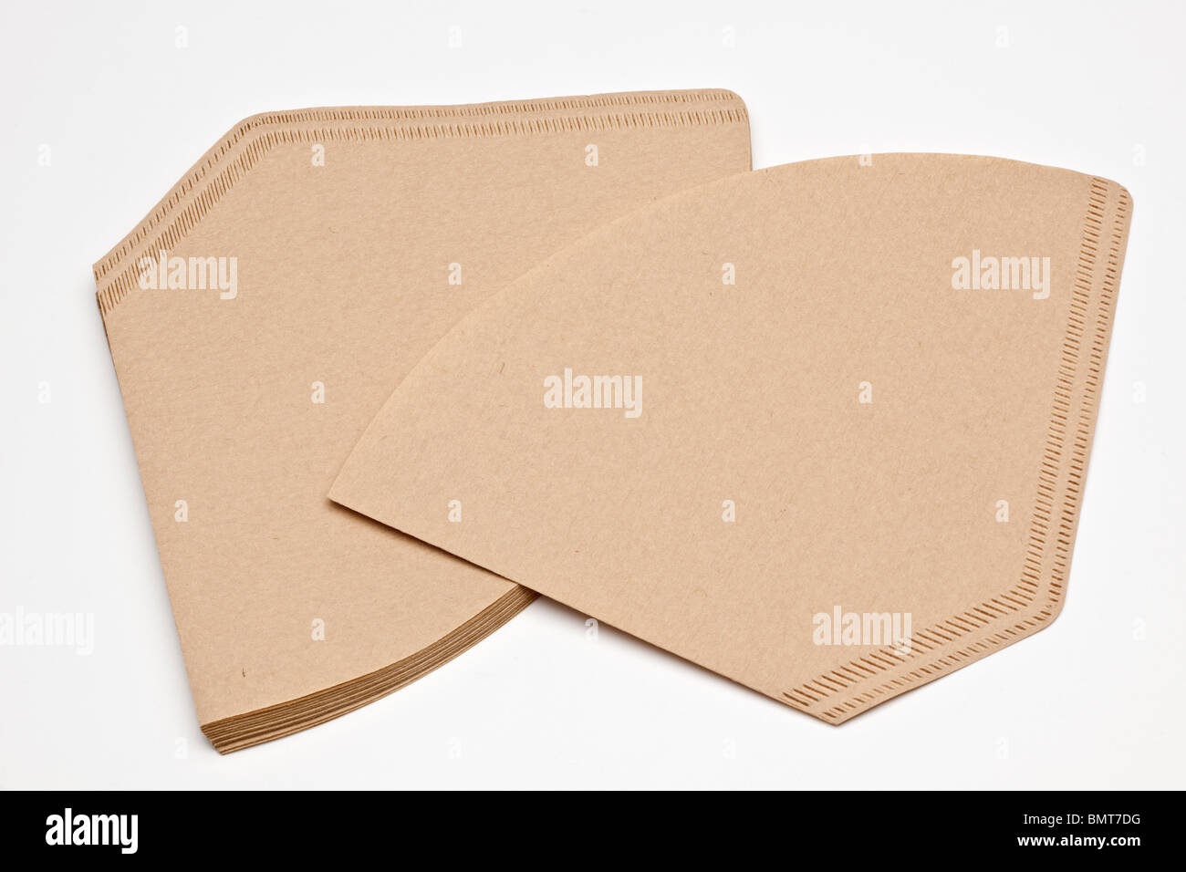 Brown paper folder coffee filter papers - Stock Image