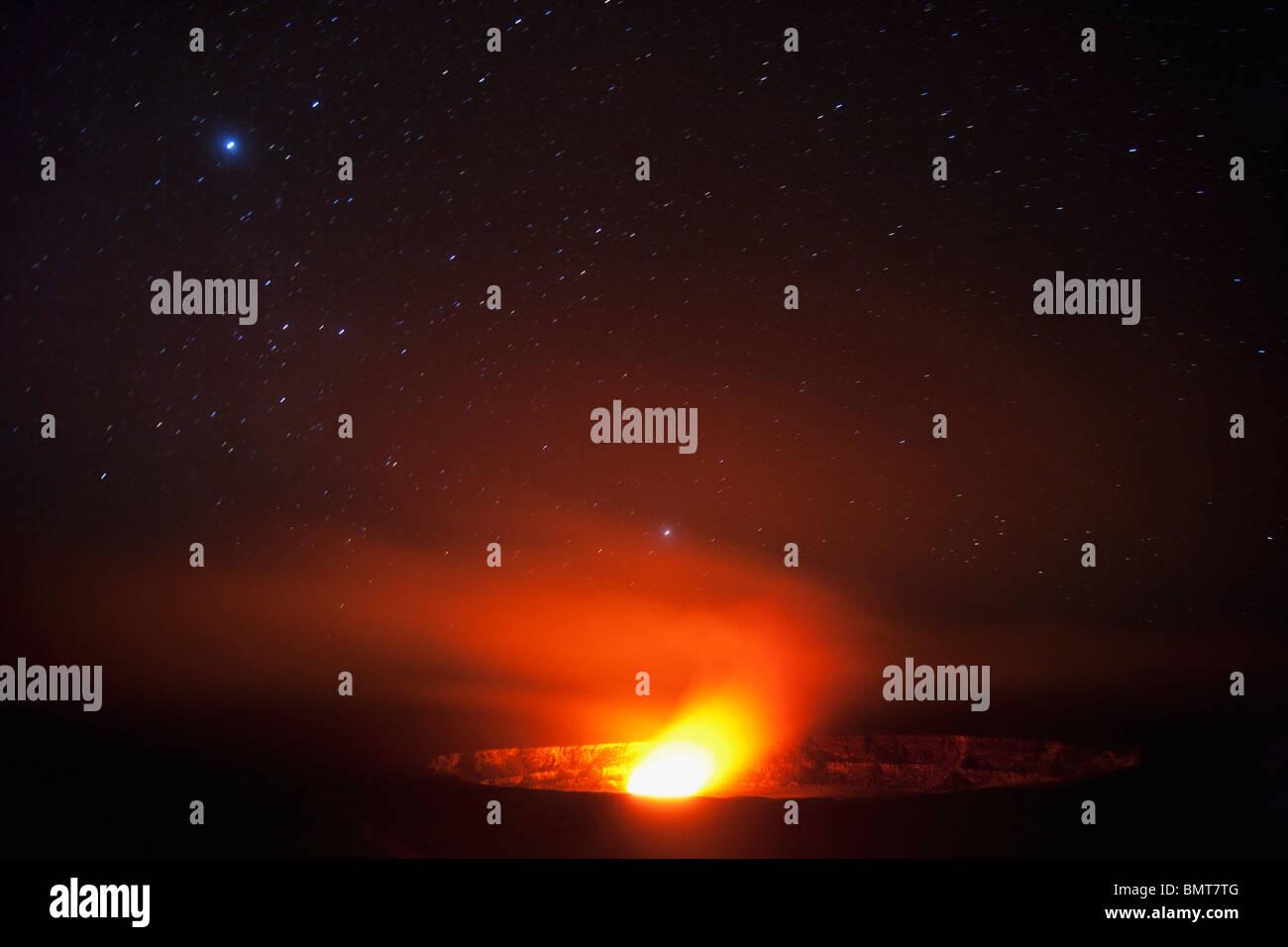 Hawaii, United States Of America; Halema'uma'u Vent Inside Kilauea Crater Glows From Molten Lava At Night - Stock Image