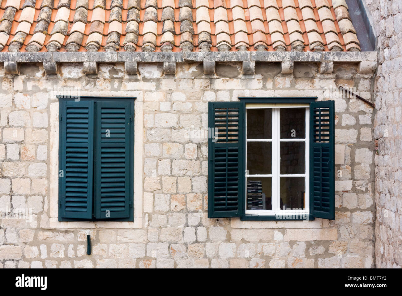 Windows in Old Town of Dubrovnik, Dalmatia, Croatia Stock Photo