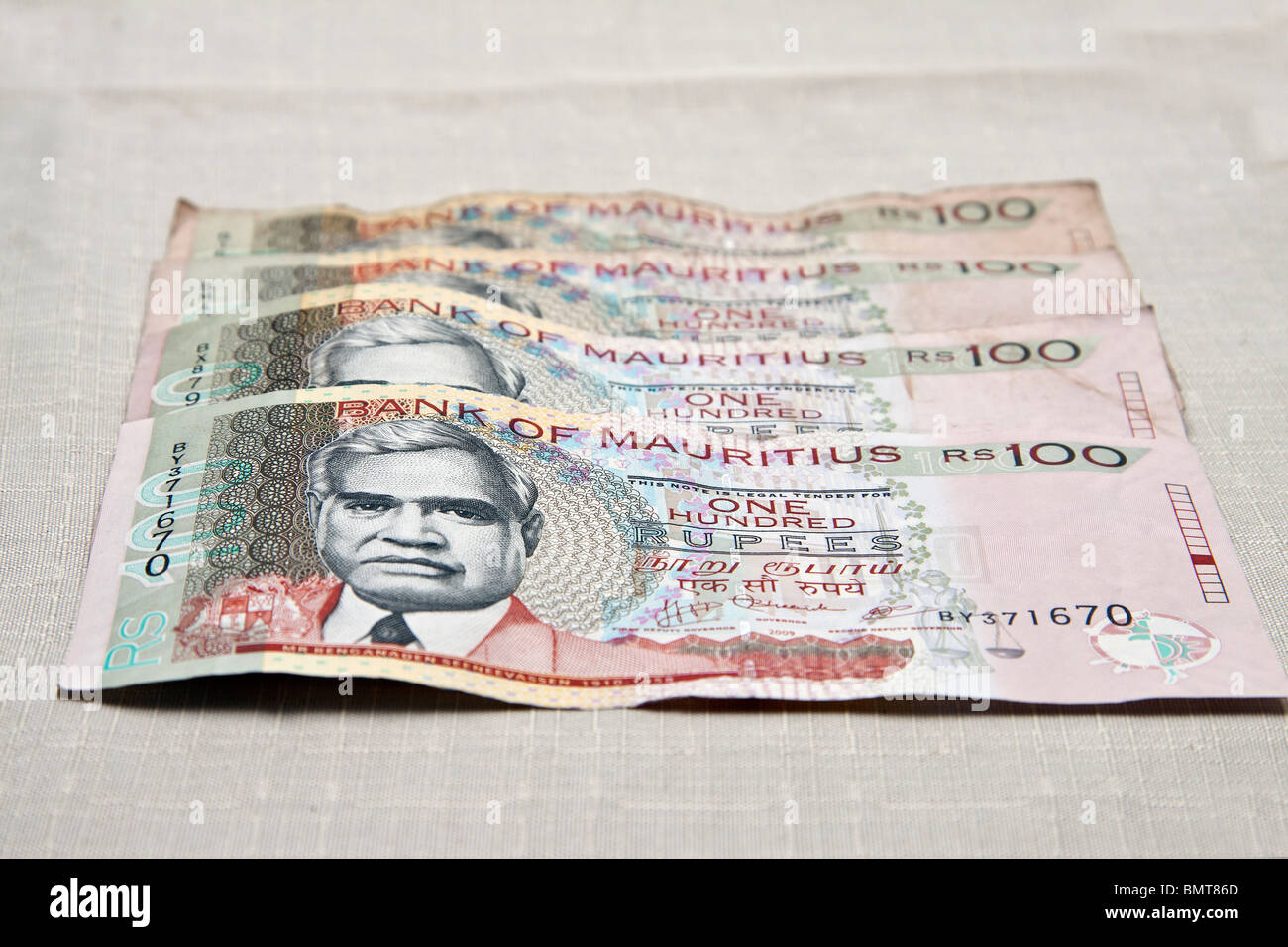 Mauritian currency,one hundred rupees notes. - Stock Image