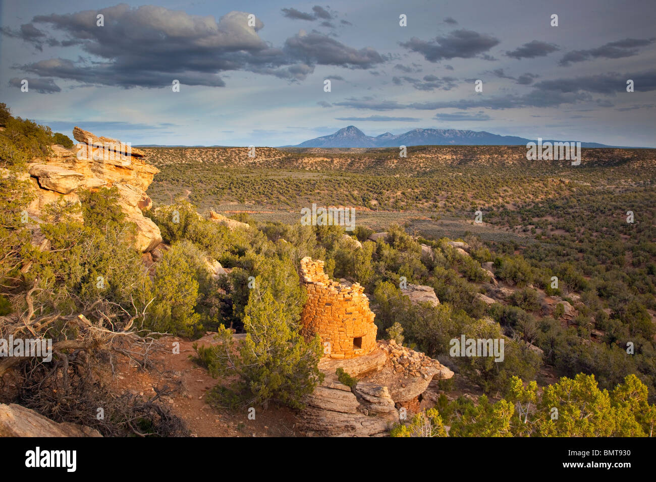 Ancient Puebloan tower at Painted Hand Pueblo, Canyons of the Ancients National Monument, west of Cortez, Colorado, - Stock Image