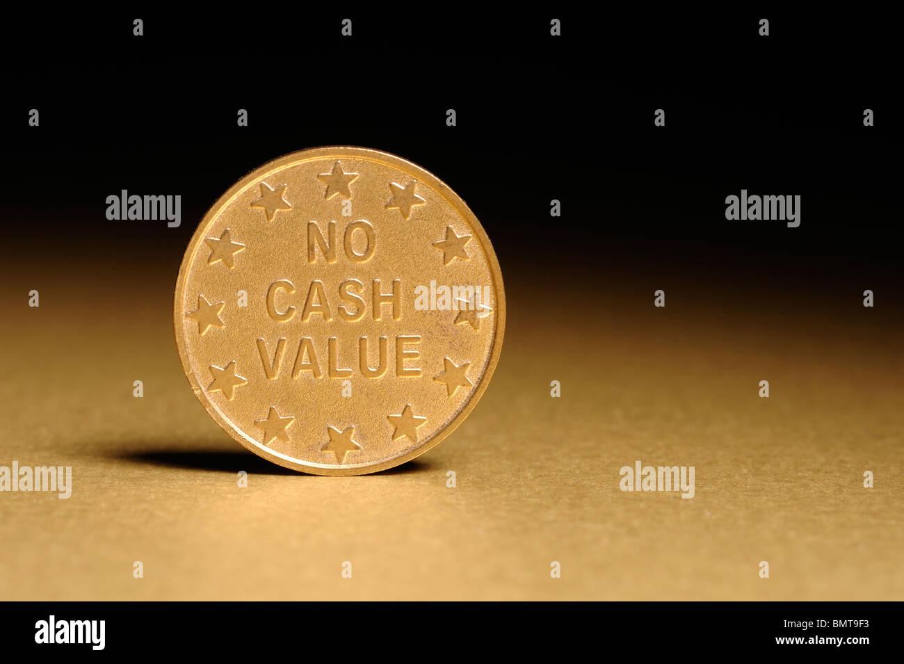 No Cash Value coin - Stock Image