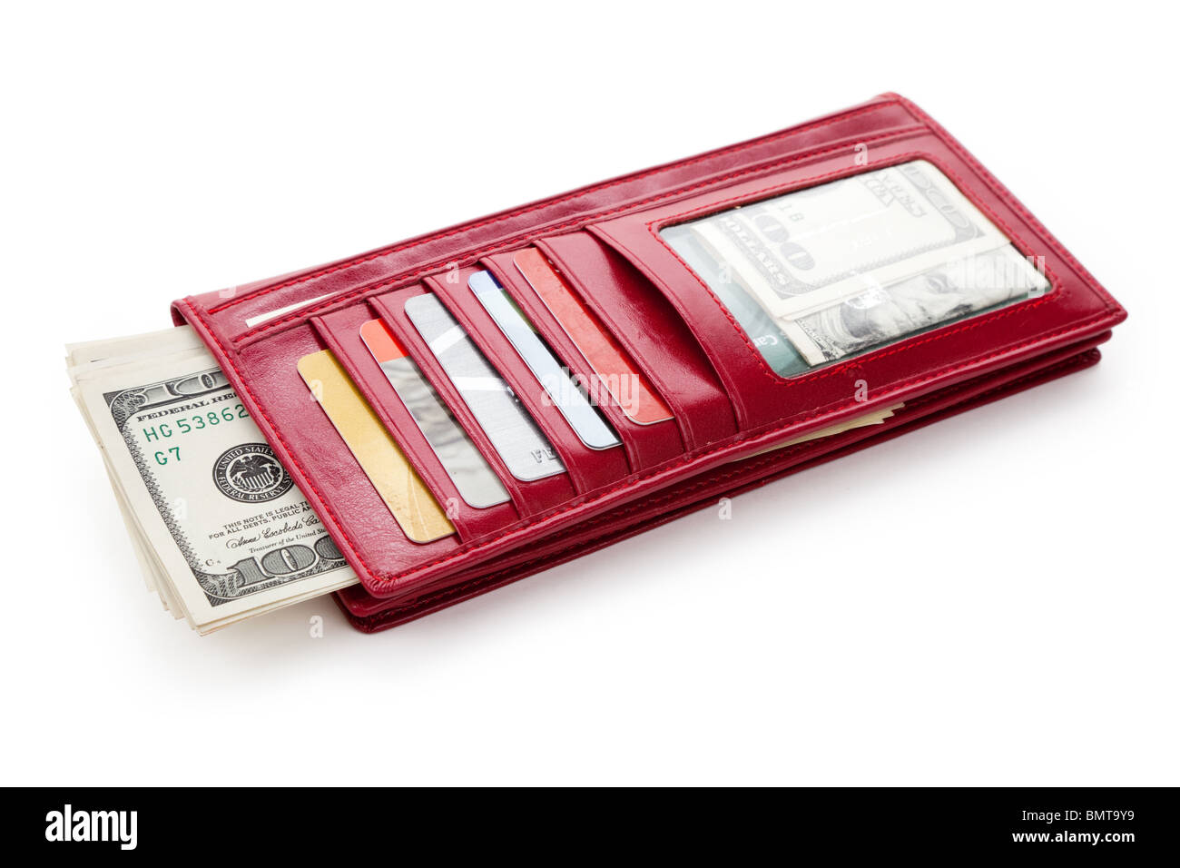 Red Wallet with money and Credit Card - Stock Image
