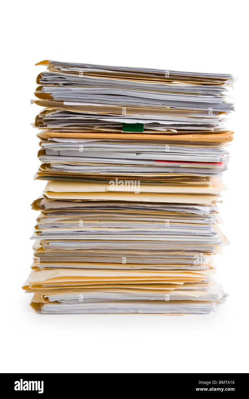File Stack, file folder with white background - Stock Image