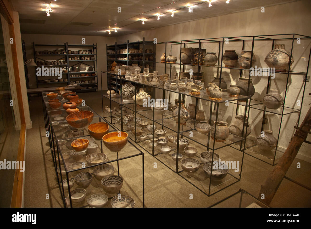 Pottery collection on display in museum at Edge of the Cedars State Park, Blanding, Utah, USA - Stock Image