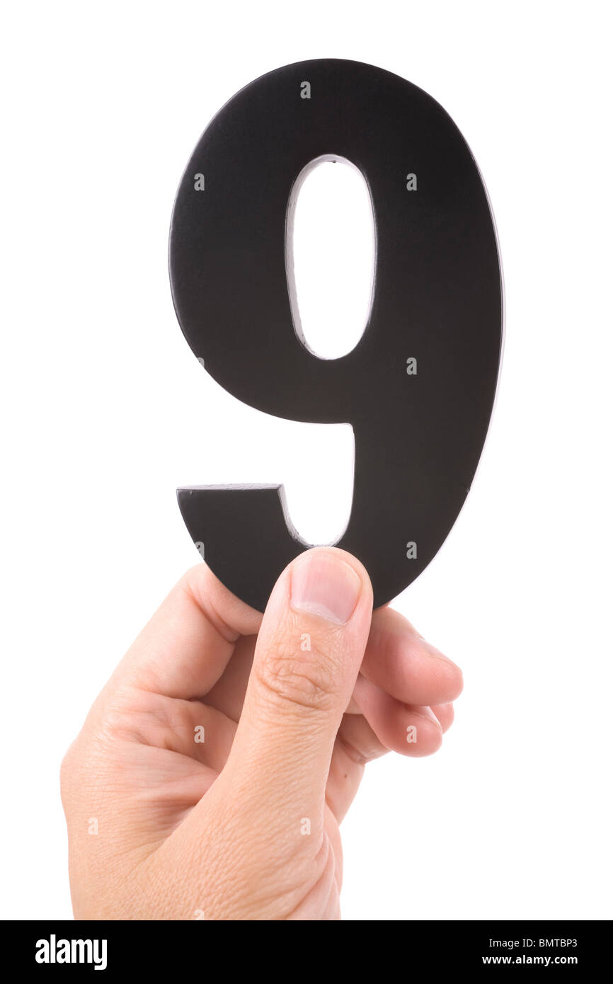 number 9 with white background - Stock Image