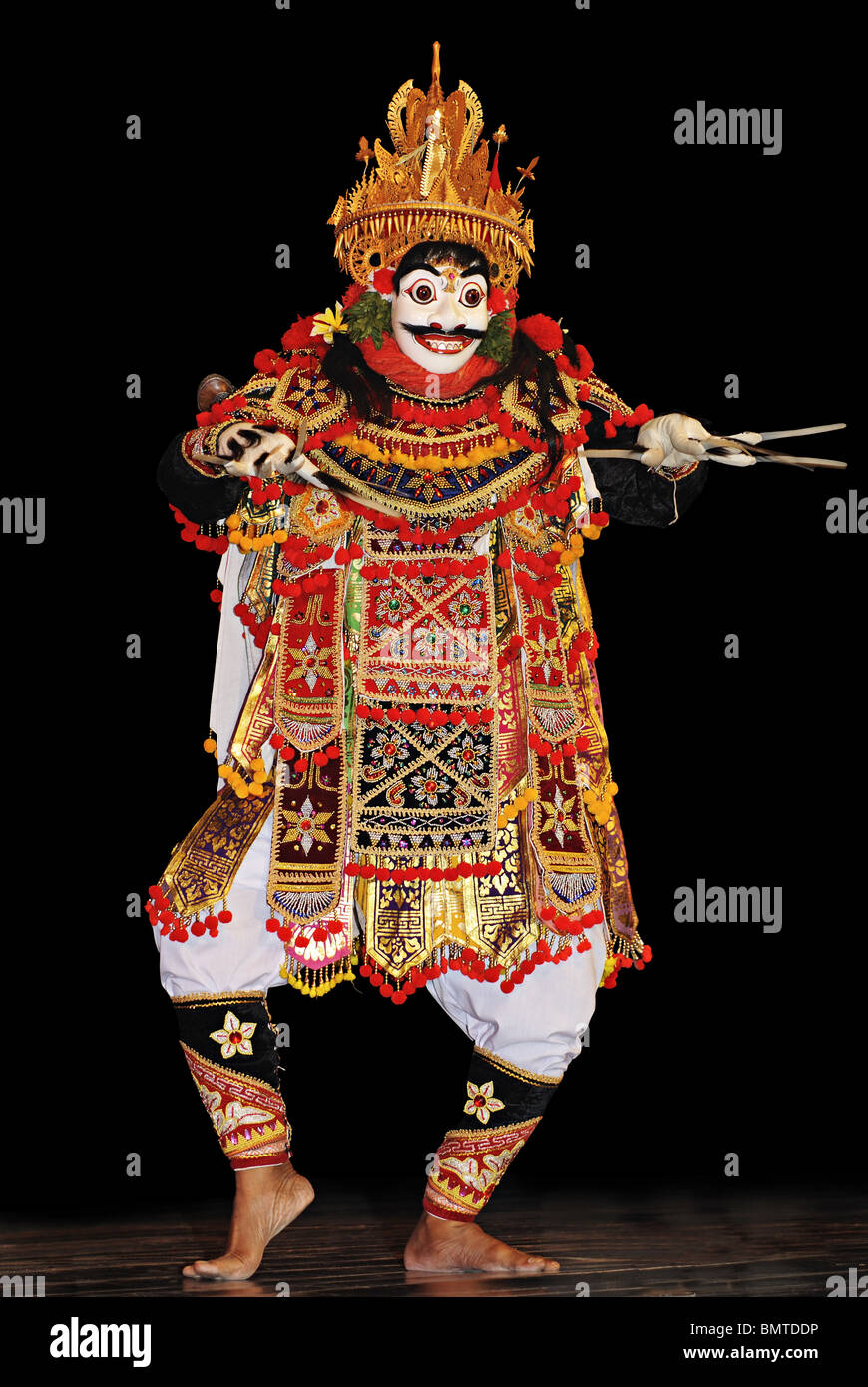 Indonesia-Bali, Jauk dancer of Masleers performing Mask Drama. - Stock Image