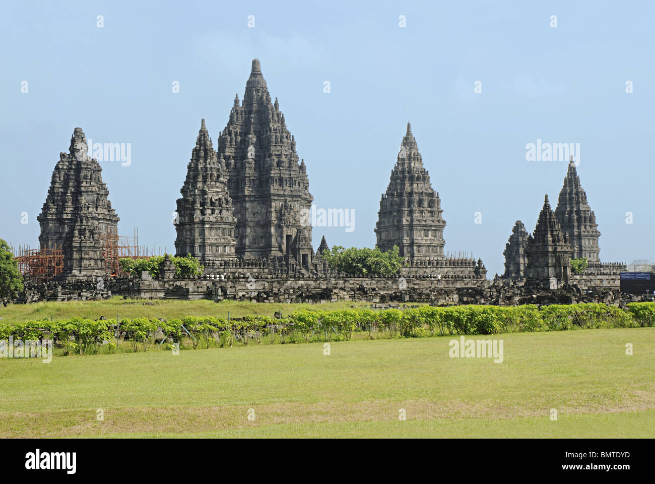 Indonesia-Java, Prambanan group of temples, 8th-9th century A.D. The largest temple is dedicated to Lord Shiva - Stock Image