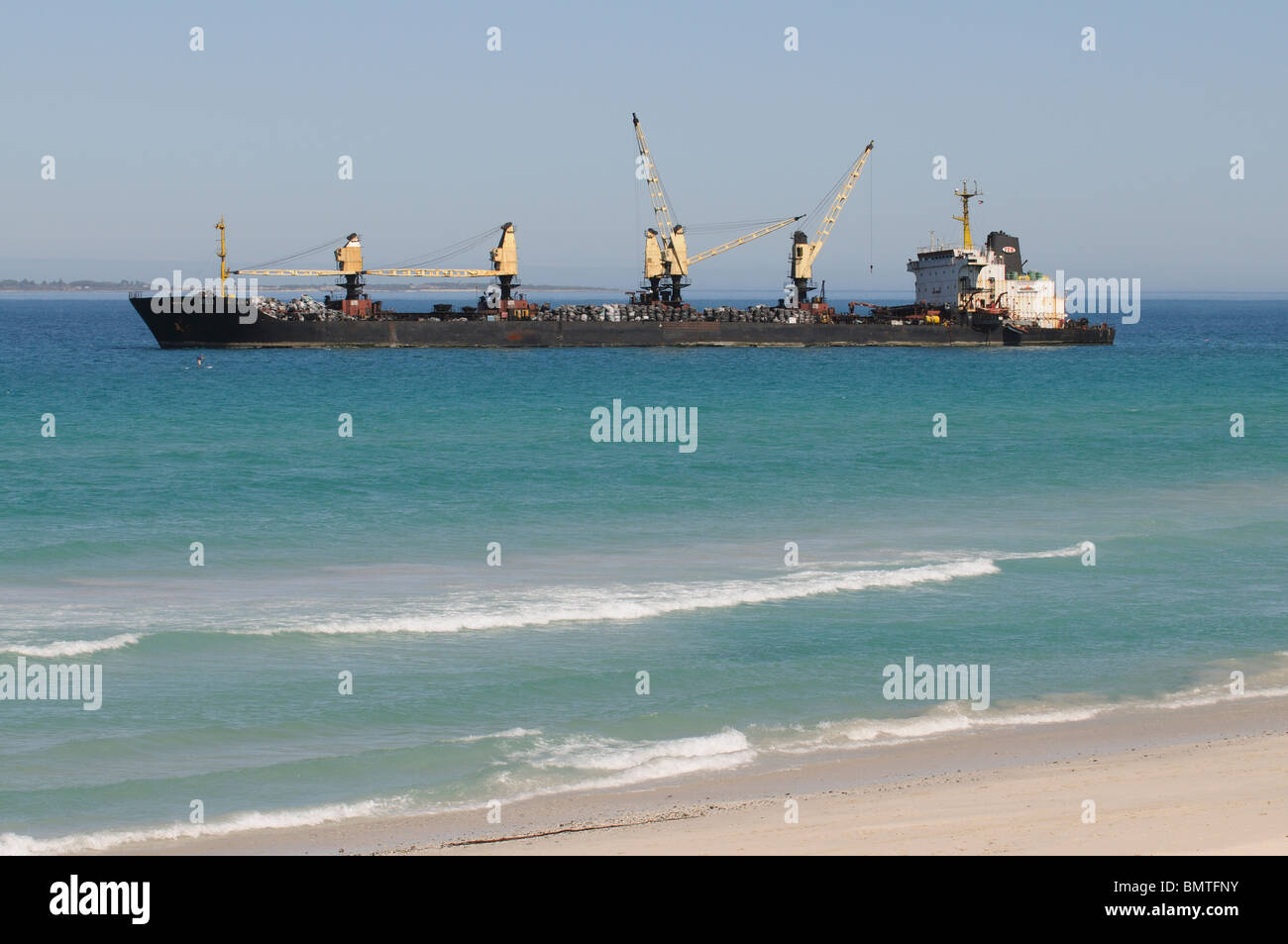 The Seli 1 a small bulk carrier aground in Table Bay Cape Town South Africa - Stock Image