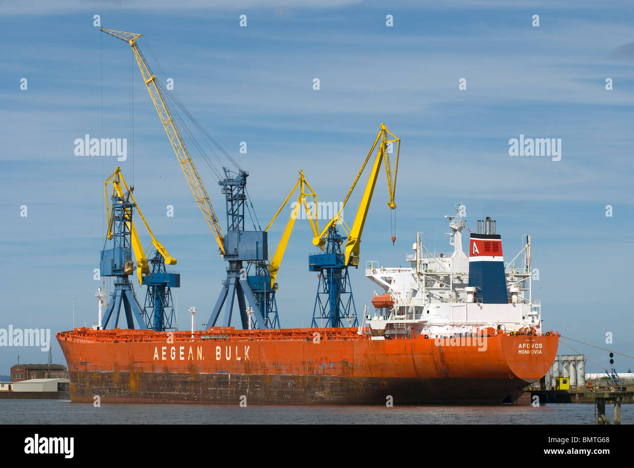 Bulk carrier 'Afovos' at maintenance wharf, Belfast, Northern Ireland. - Stock Image