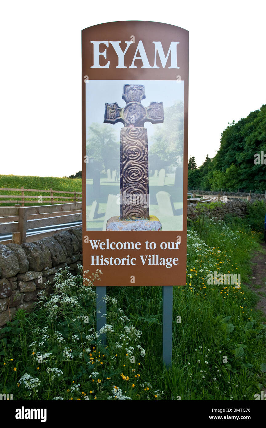 Eyam welcome to our historic village sign - Stock Image