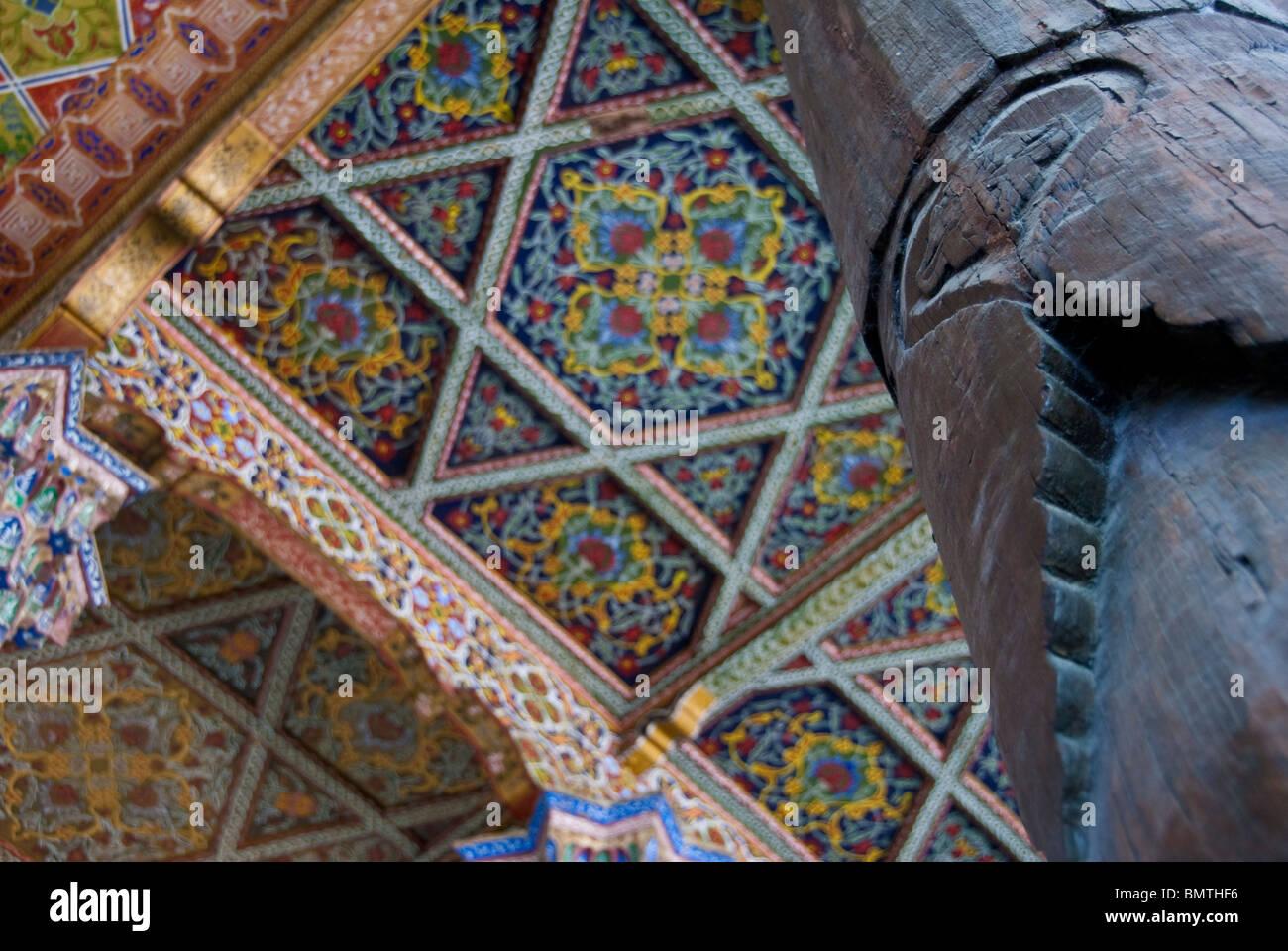 detail of the columns at the Juma Mosque, Khokand, Uzbekistan. - Stock Image