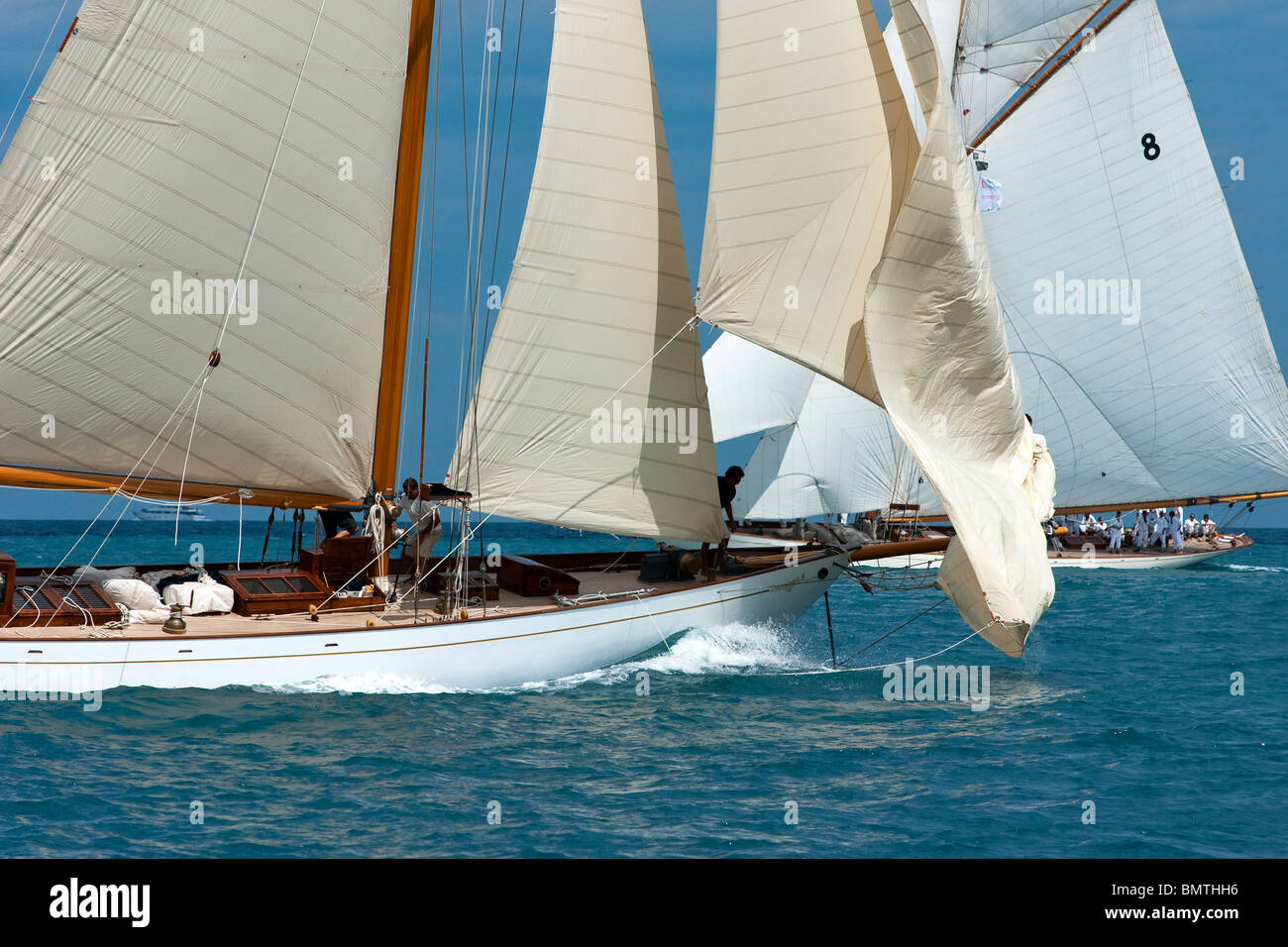 Encounter of two classic yachts Stock Photo