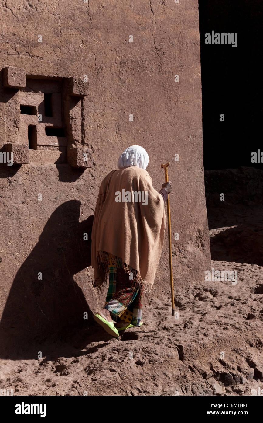 Pilgrim at Yemrehana Krestos Church,Lalibela, Ethiopia. - Stock Image