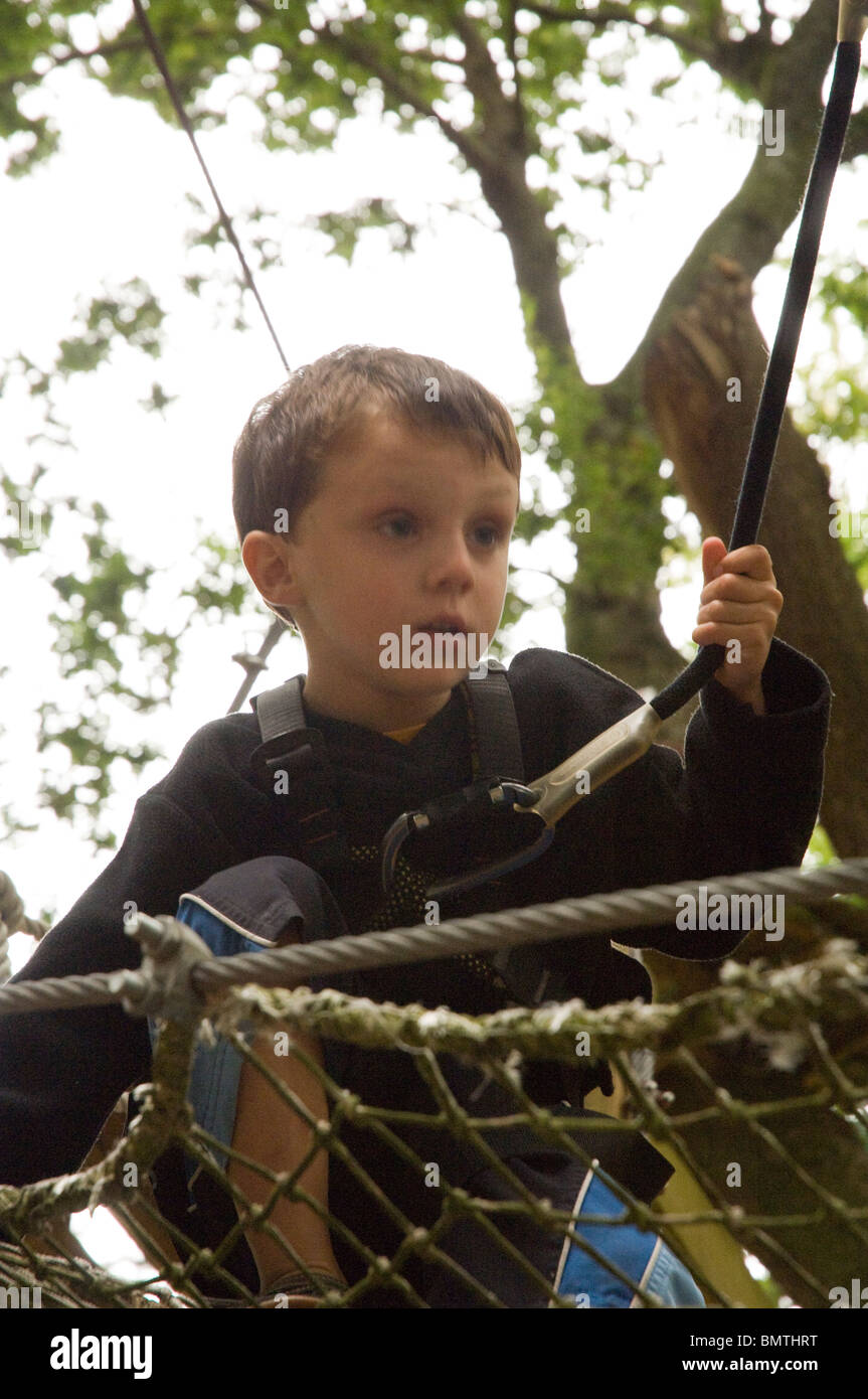 Boy on Bonobo aerial rope course, Quimper, France, Europe - Stock Image