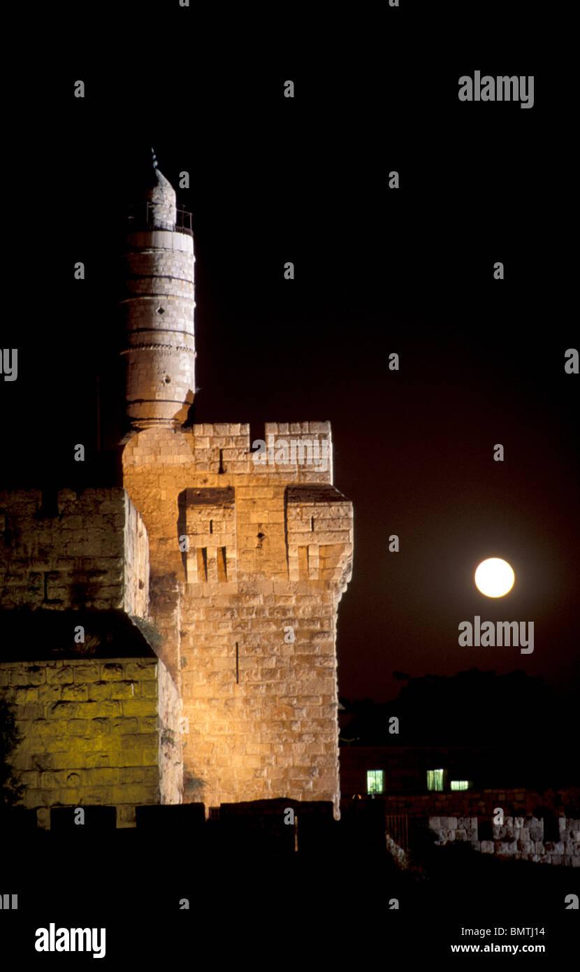 Israel, Jerusalem, moonrise over the Tower of David - Stock Image