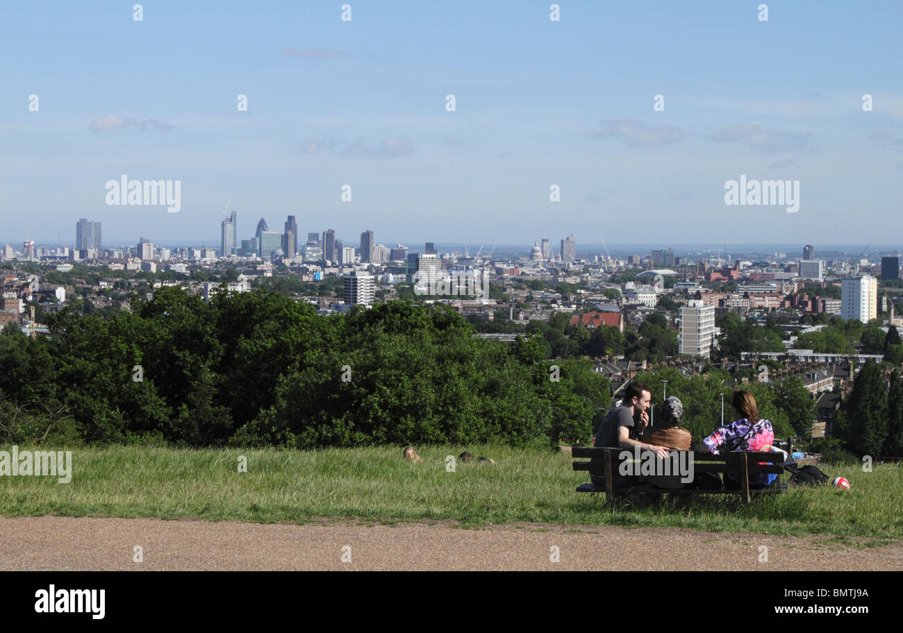 London cityscape view from Parliament Hill Hampstead Heath summer 2010 Stock Photo
